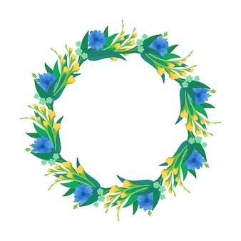 Couronne de fleurs sauvages bleues et jaunes, composition florale botanique.
