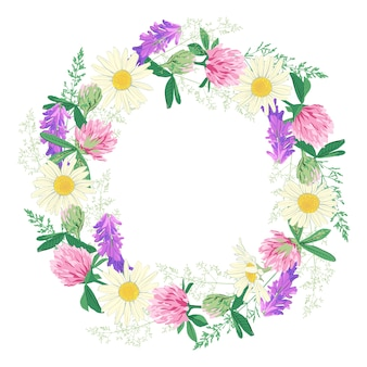 Couronne de fleurs sauvages isolé sur blanc