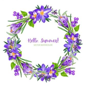 Couronne de fleurs violettes des champs avec crocus, dessinés à la main