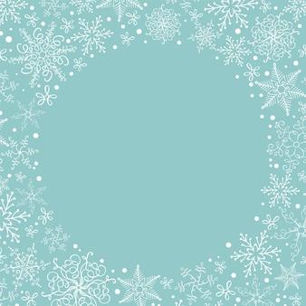 Couronne de flocons de neige de noël avec la surface. carte de voeux