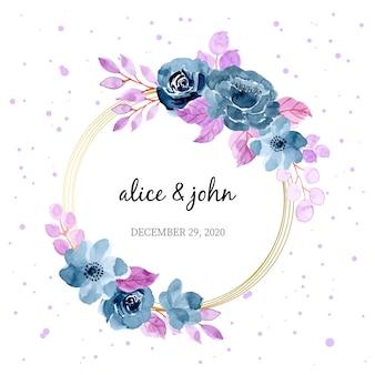 Couronne florale aquarelle bleu violet