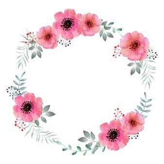 Couronne florale aquarelle, cadre