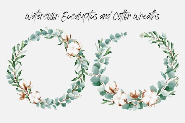 Couronne florale aquarelle avec fleur de coton et feuilles d'eucalyptus