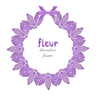 Couronne florale aquarelle avec fleur lilas. invitation, fond de carte de voeux