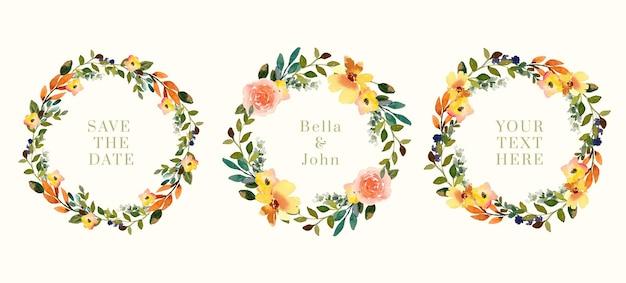 Couronne florale à l'aquarelle de fleurs et de fleurs jaunes et lumineuses