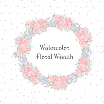 Couronne florale aquarelle avec des fleurs magnifiques