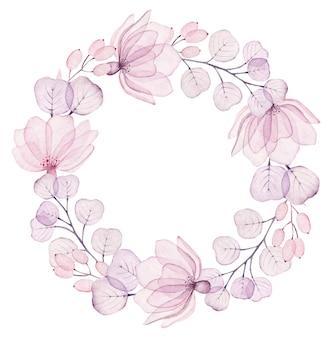 Couronne florale aquarelle avec fleurs transparentes