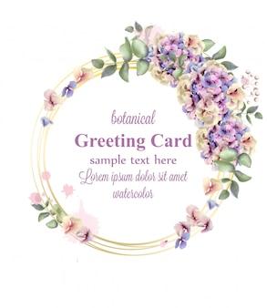Couronne florale aquarelle d'hortensias