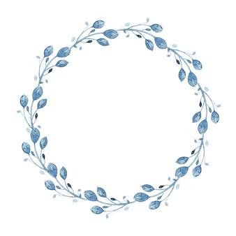 Couronne florale aquarelle indigo avec brindille, branche et feuilles abstraites