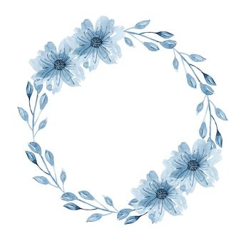 Couronne florale aquarelle indigo avec brindille, fleurs, branche et feuilles abstraites