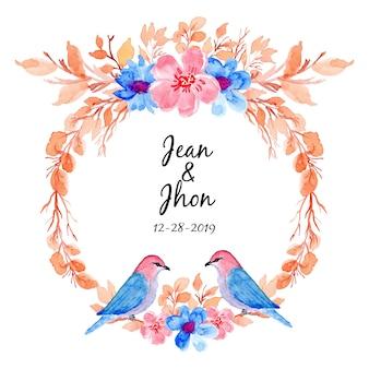 Couronne florale aquarelle avec oiseau