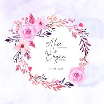 Couronne florale aquarelle pour enregistrer la carte de date