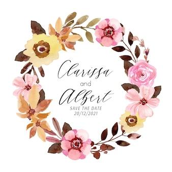 Couronne florale aquarelle avec rose rose et fleur jaune
