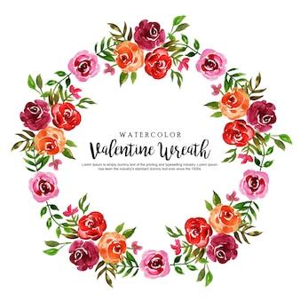 Couronne florale aquarelle valentine