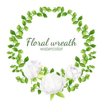 Couronne florale d'aquarelle avec la verdure et les fleurs blanches de pivoine
