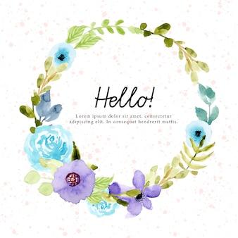 Couronne florale aquarelle vert violet bleu