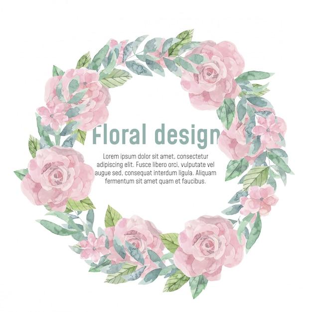 Couronne florale aquarelle.