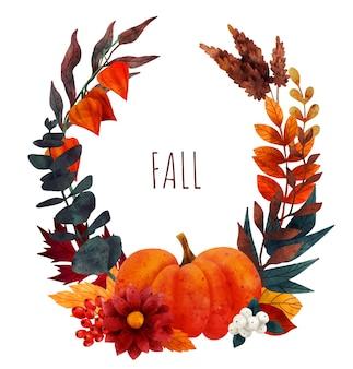 Couronne florale d'automne fleurs et feuilles d'automne