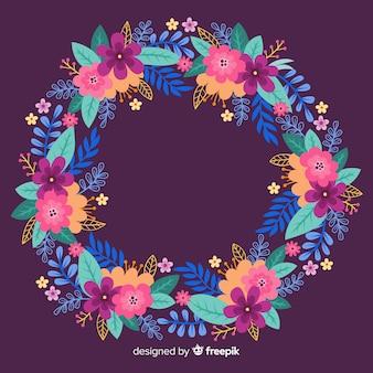 Couronne florale colorée dessinée à la main