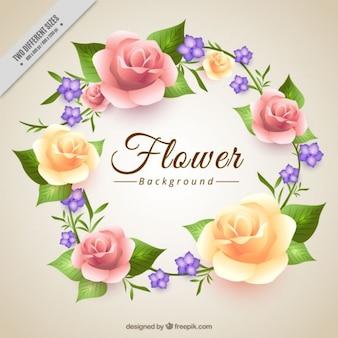 Couronne florale composée de roses fond