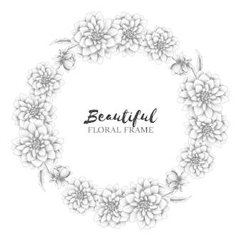 Couronne florale avec croquis de fleurs de dahlia
