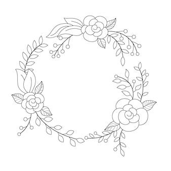 Couronne florale dans un cadre rond