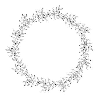 Couronne florale dessinée à la main, cadres décoratifs. isolé sur fond blanc