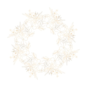 Couronne florale dorée avec pivoines