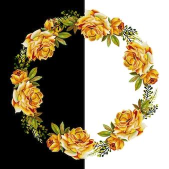 Couronne florale et feuilles aquarelle