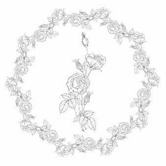 Couronne florale, fleurs roses noires et blanches