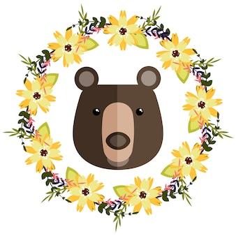 Couronne florale et fond d'ours