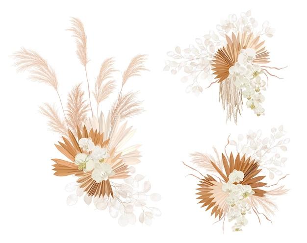 Couronne florale d'herbe de feuilles de palmier séchées de mariage