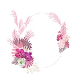 Couronne florale d'herbe de pampa d'orchidée de feuilles de palmier séchées de mariage