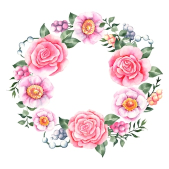 Couronne florale luxuriante dans le concept aquarelle