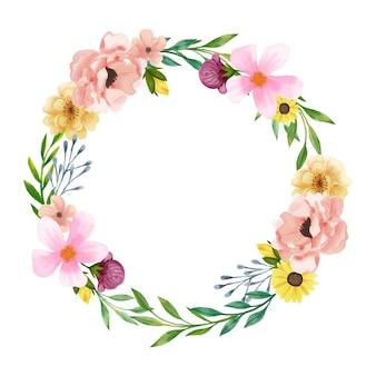 Couronne florale luxuriante dans un style aquarelle