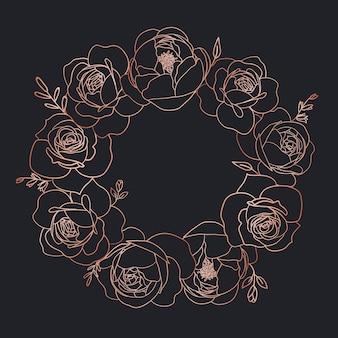 Couronne florale en or rose