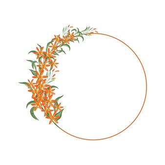 Couronne florale orange aquarelle avec cercle de feuilles