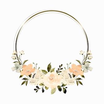 Couronne florale de pêche blanche d'aquarelle avec le cercle d'or