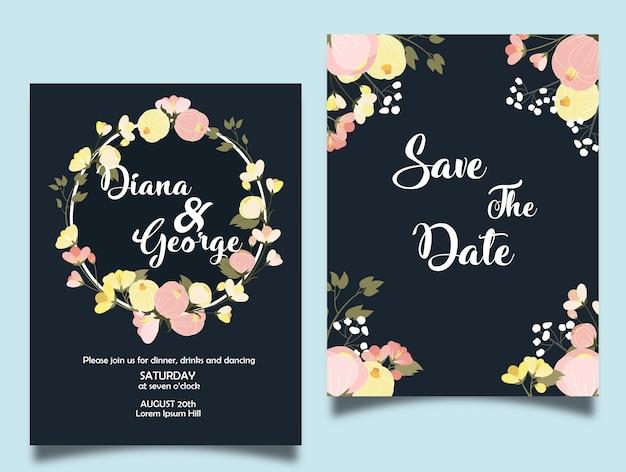 Couronne florale de printemps pour faire-part de mariage