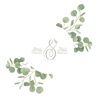 Couronne florale réaliste d'eucalyptus avec des feuilles de branches de verdure à l'aquarelle. illustration de bannière vintage vecteur été. invitation de mariage moderne de laurier, carte de cadre à la mode, design de luxe