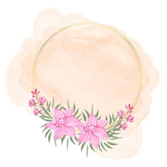 Couronne florale rose aquarelle avec cercle doré