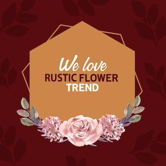 Couronne florale rustique dans un style aquarelle