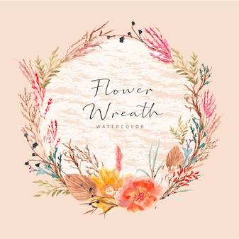 Couronne florale sèche en automne