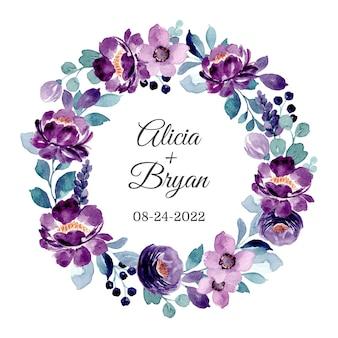 Couronne florale violette avec aquarelle