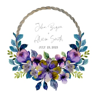 Couronne florale violette violette avec aquarelle