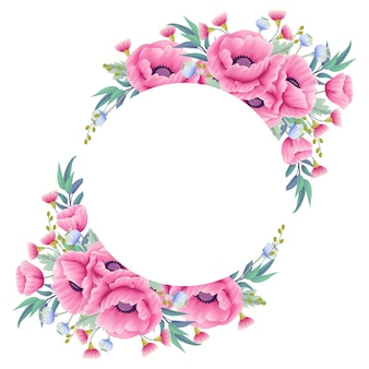 Couronne de fond floral avec fleur de pavot et eucalyptus