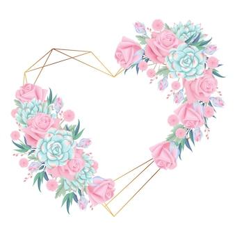 Couronne de fond floral avec fleur de roses et succulente