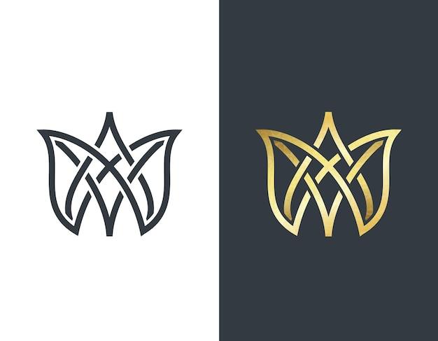 Couronne, forme dorée et monochromatique. emblème abstrait, concept de design