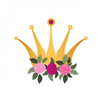 Couronne isolée avec icône isolé de roses