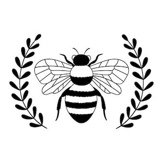 Couronne de laurier abeille contour dessin illustration vectorielle de ligne